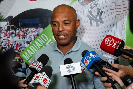 Mariano Rivera speaks to the media on Saturday in Cooperstown, New York.