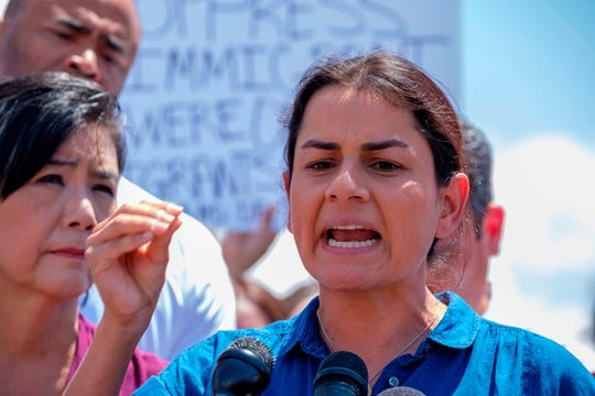 US Representative Nanette Diaz Barragan (D-CA) speaks during a press conference following a tour in Border Patrol facilities and migrant detention centers for 15 members of the Congressional Hispanic Caucus on July 1, 2019 in Clint, Texas. (Photo by Luke MONTAVON / AFP)