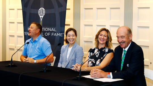 (From right to left) Stan Smith, Mary Pierce, Li Na, and Yevgeny Kafelnikov during a press conference  at the International Tennis Hall of Fame in Newport, Rhode Island.