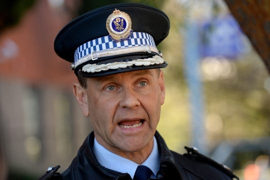 New South Wales Police Assistant Commissioner Mark Jones speaks during a press conference outside Sutherland Police Station in Sydney, Australia, July 20, 2019.