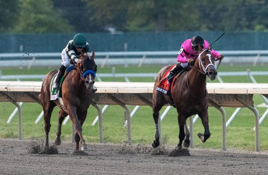 Maximum Security ridden by Luis Saez heads for the win of TVG.COM Haskell Invitational. Haskell Day races at Monmouth Park Racetrack in Oceanport, NJ on July 20, 2019.