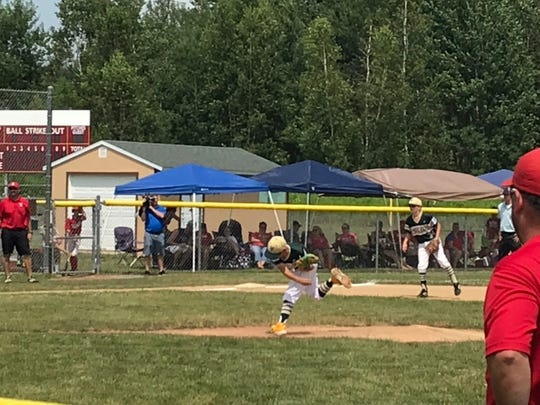 Vestal's Ben Tanton follows through in the first inning of the Section 1 East Little League Tournament title game Saturday at Cortland's Ted Testa Park.