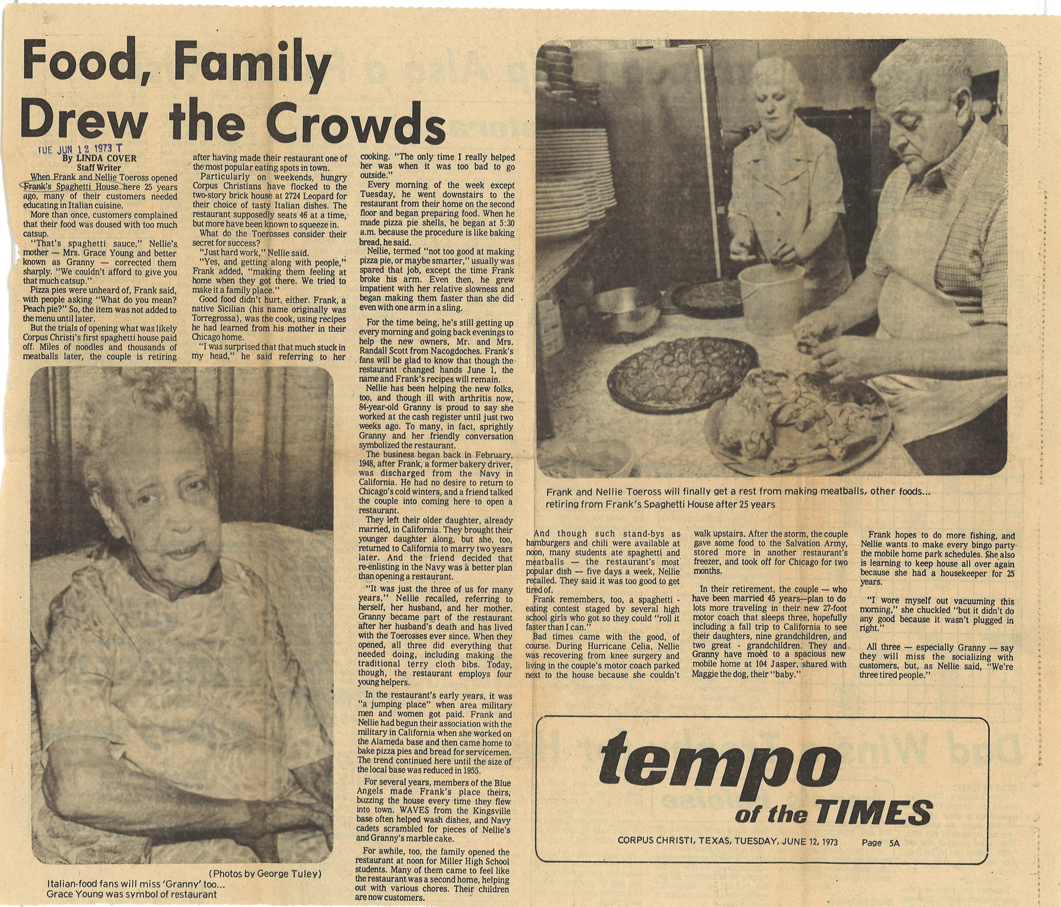 A clipping from the Corpus Christi Caller-Times about Frank's Spaghetti House in June 1973.