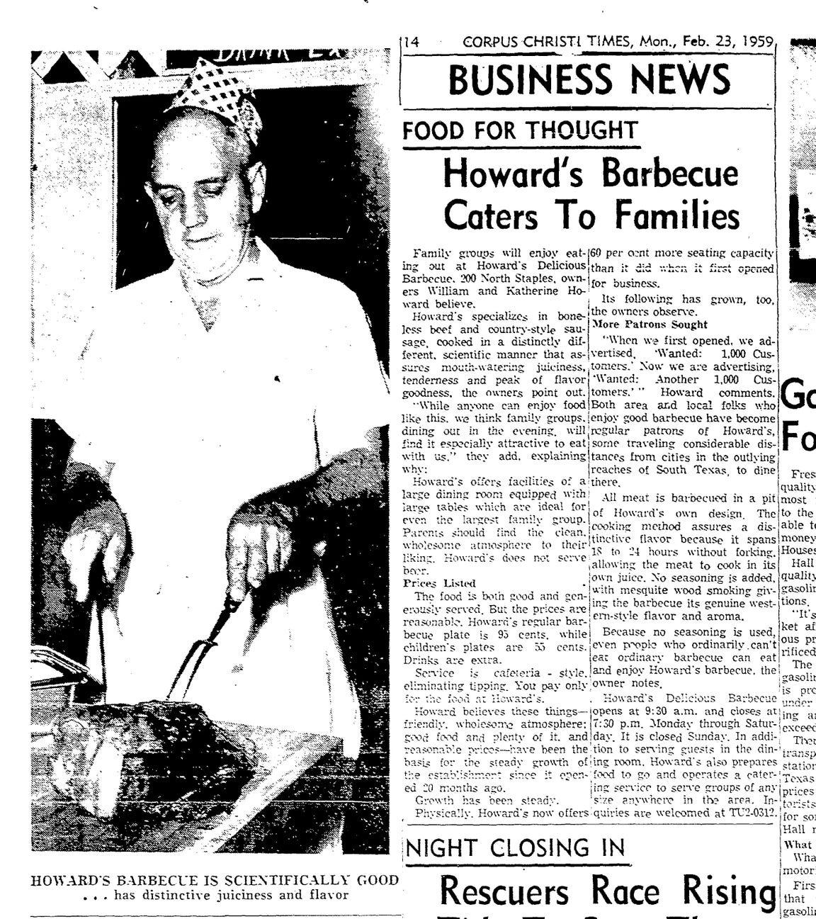 Article on Howard's Barbecue from Feb. 23, 1959 Caller-Times.