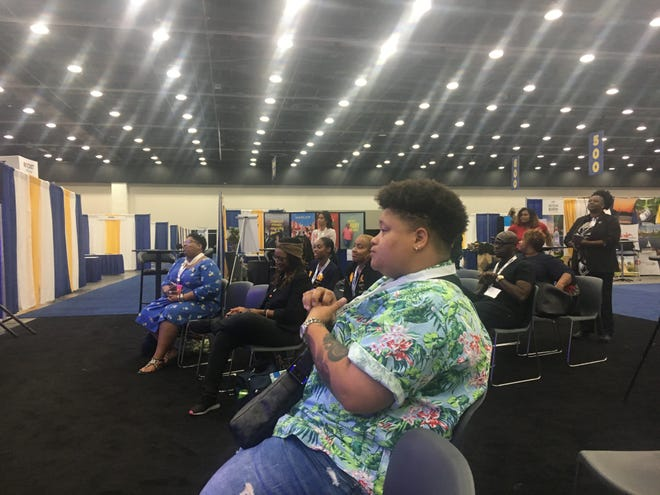 NAACP convention goers attend the Gender Justice Matters fireside chat at Cobo Center Sunday, July 21, 2019.