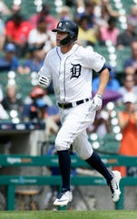 Tigers center fielder JaCoby Jones rounds the bases after hitting a solo home run during the fifth inning on Sunday, July 21, 2019, at Comerica Park.