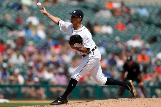 Tigers pitcher Shane Greene pitches during the ninth inning of the Tigers' 4-3 win in 10 innings on Sunday, July 21, 2019, at Comerica Park.