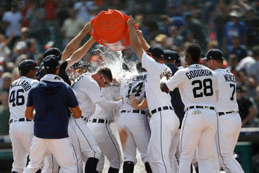Detroit Tigers' Nicholas Castellanos isn't gone yet, but his line drive in the 10th was