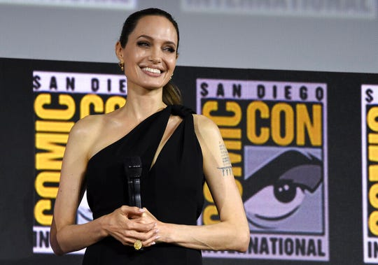 Angelina Jolie attends the Marvel Studios panel on day three of Comic-Con International on Saturday, July 20, 2019, in San Diego.