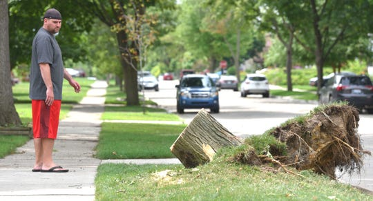 Scott Golen, of Dearborn, looks at what's left of the uprooted tree that fell on his house, causing minor damage, on North Melborn near Sheridan.