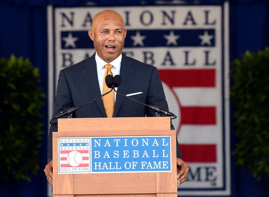 National Baseball Hall of Fame inductee Mariano Rivera speaks during Sunday's induction ceremony at the Clark Sports Center in Cooperstown, N.Y.