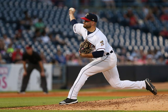 Bryan Garcia pitches for the Mud Hens earlier this month.