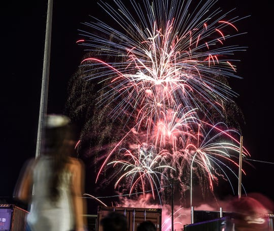 The 75th Liberation Fireworks are seen from the carnival grounds in Hagåtña on July 21, 2019.