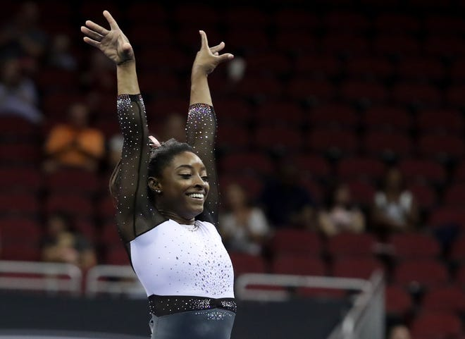 Simone Biles finishes her floor routine at the GK U.S. Classic on July 20, 2019
