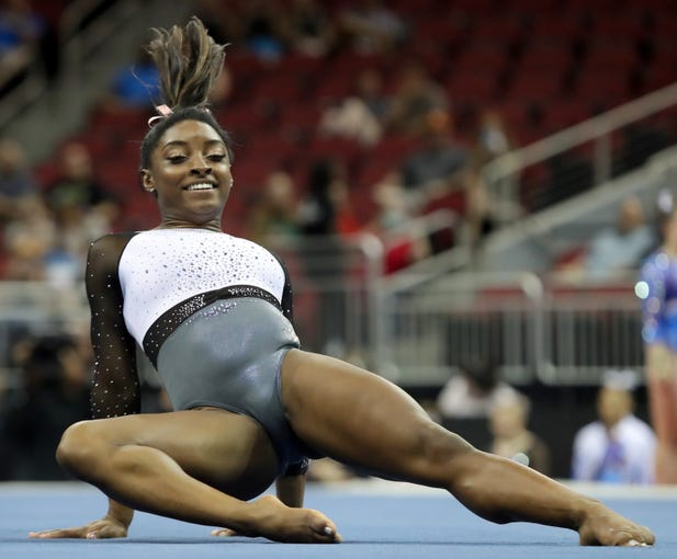 Simone Biles performs her floor routine at the GK U.S. Classic on July 20, 2019