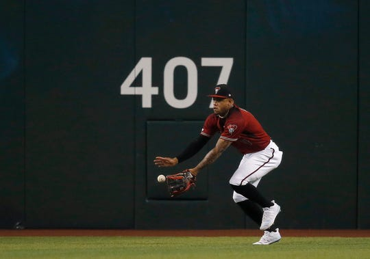 Diamondbacks centerfielder Ketel Marte makes a running catch on a ball hit by the Brewers' Lorenzo Cain leading off the game earlier this year.
