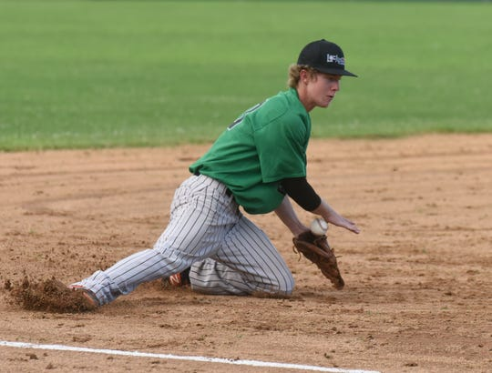 Lockeroom third baseman Carter Graves secures a ground ball during a recent game against Paragould at Cooper Park.