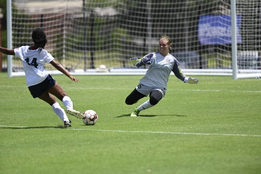 Briana Morris scores one of two goals that lifted Pensacola FC to a 4-3 win over Utah Royals in the 2019 WPSL Championship Game on July 21, 2019.