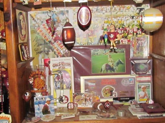 A portion of Chris Holder's impressive collection of FSU memorabilia.
