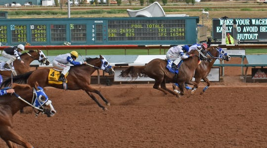 Eagle Coast won the Rainbow Derby on Saturday at Ruidoso Downs Racetrack and Casino with Sergio Becerra Jr. aboard.