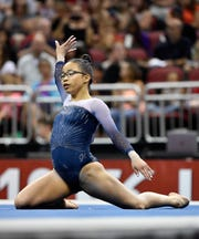 Morgan Hurd performs in the floor exercises during the GK US Classic gymnastics meet in Louisville, Ky., Saturday, July 20, 2019. .