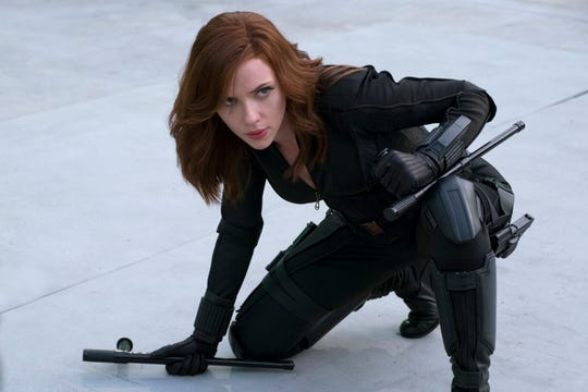 """Seen here in """"Captain America: Civil War,"""" Natasha Romanoff (Scarlett Johansson) engages with other women who've gone through the Red Room assassin program in """"Black Widow."""""""