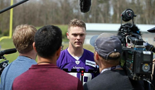 Minnesota Vikings rookie Austin Cutting talks with reporters after rookie minicamp workouts began at the NFL football team's complex Friday, May 3, 2019, in Eagan, Minn. Cutting became the first Air Force player drafted in 20 years when the Vikings took the long snapper in the seventh round. Pursuing a pro football career isn't so simple, though, with required military service to be sorted out first for Cutting.
