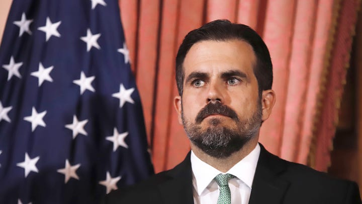 Puerto Rico Governor Ricardo Rossello addresses the media at the Fortaleza Government headquarters, in San Juan, Puerto Rico, 16 July 2019 (Reissued 21 July 2019).