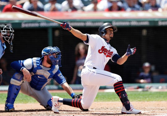 Cleveland Indians' Francisco Lindor watches his ball after hitting a two-run home run in the third inning.