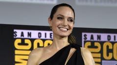Angelina Jolie attends the Marvel Studios panel on day three of Comic-Con International on Saturday, July 20, 2019, in San Diego. (Photo by Chris Pizzello/Invision/AP) ORG XMIT: CAPM251