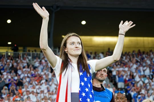 Jul 18, 2019; Cincinnati, OH, USA; United States women's national soccer team member Rose Lavelle reacts to the crowd as she is honored during halftime in the game of D.C. United against FC Cincinnati at Nippert Stadium. Mandatory Credit: Aaron Doster-USA TODAY Sports ORG XMIT: USATSI-401701 ORIG FILE ID:  20190718_add_db4_023.JPG
