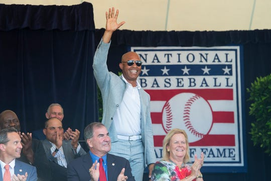 Mariano Rivera is introduced Saturday at the awards ceremony for broadcasters and writers at Doubleday Field.