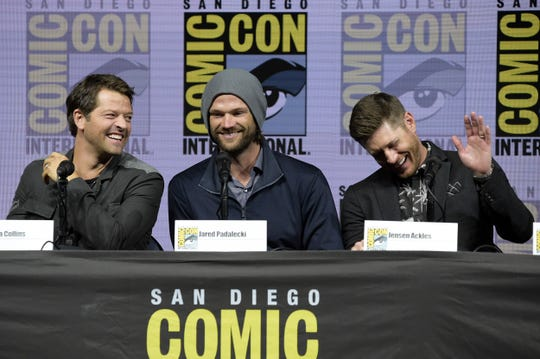 """Misha Collins (from left) , Jared Padalecki and Jensen Ackles participate in their final """"Supernatural"""" panel at Comic-Con. Dean (played by Ackles) and Sam (Padalecki) have to deal with hell on Earth in the 15th season."""