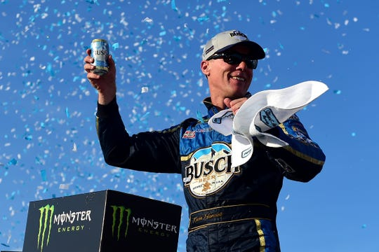 Kevin Harvick celebrates after winning the Foxwoods Resort & Casino 301 at New Hampshire Motor Speedway.