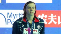 It's rare that American Katie Ledecky stands for another country's national anthem.