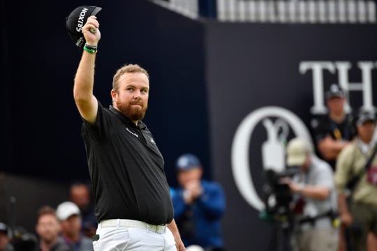 Shane Lowry salutes the crowd after the third round of the British Open.