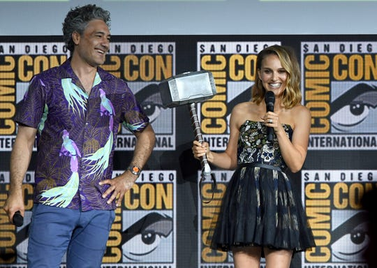 "Natalie Portman (with director Taika Waititi) wields the mighty hammer for the fourth ""Thor"" movie."