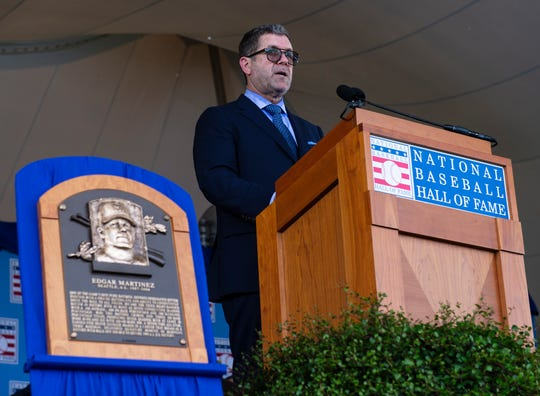 Hall of Fame Inductee Edgar Martinez makes his acceptance speech during the 2019 National Baseball Hall of Fame induction ceremony.
