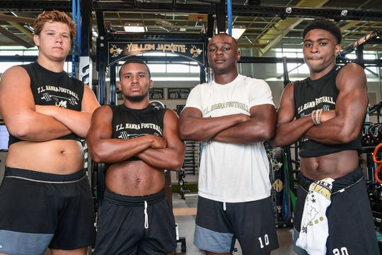 T.L. Hanna High School, in Class AAAAA Region 1, with Jonathan Brown, left, Erick Lopez, Preston Pettway, and Ja'Nike Truesdale.