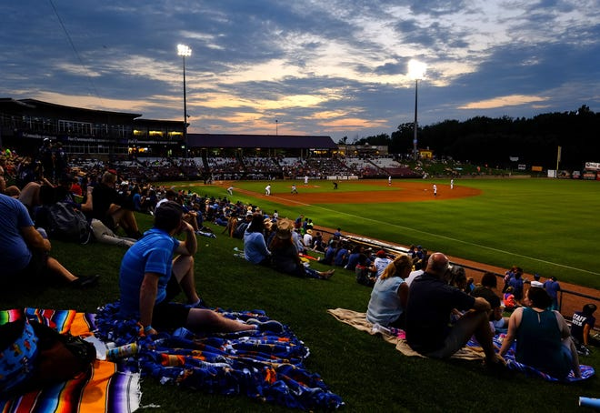 Fans watch the Wisconsin Timber Rattlers take on the South Bend Cubs in July at Fox Cities Stadium in Grand Chute. The Timber Rattlers will play their final three home games next week.