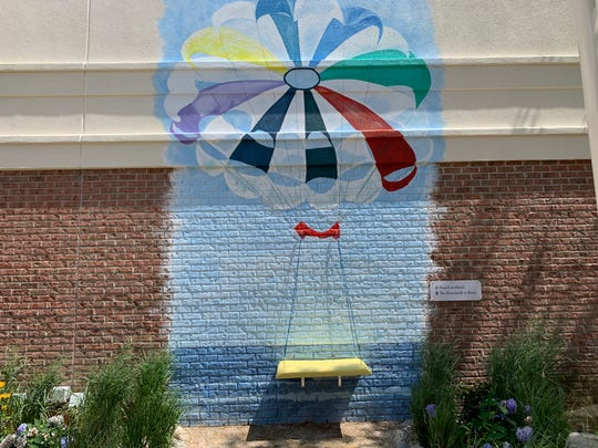 A parasail mural for  selfies is part of the new Boardwalk area at Brick Plaza.