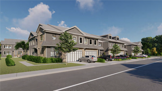A rendering of the townhouses proposed for the Ocean Town Center at Rt. 35 and Deal Road.