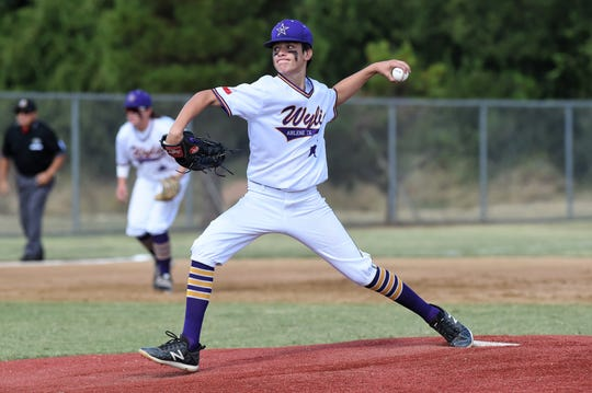 Wylie Junior League pitcher Hays Sipe (2) delivers to the plate against Corpus Christi Oil Belt in the Texas West Little League state championship at Kirby Park in Abilene on Monday, July 22, 2019. Sipe worked 5⅔ innings and added three RBIs at the plate as Wylie won 7-1.
