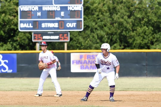 Wylie Junior League's Jayse Robinson (24) leads off second base after hitting an RBI double against Corpus Christi Oil Belt in the Texas West Little League state championship at Kirby Park in Abilene on Monday, July 22, 2019. Wylie won 7-1 and advances to the Southwest Regional in Albuquerque, N.M. on Aug. 3-7.