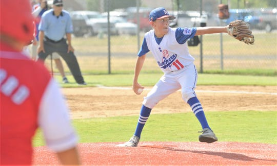 Midland Northern pitcher Cole Netherlin throws a pitch to an Abilene Dixie batter in the third inning. Netherlin went the distance for Northern in an 8-1 victory over Dixie to win the Little League Division title at the Texas West State Little League baseball tournament Monday at Kirby Park.