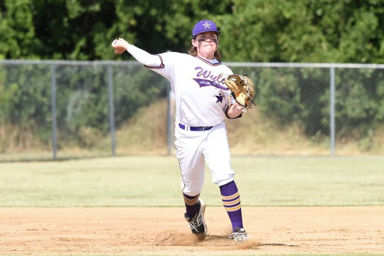 Wylie Junior League third baseman Sam Walker (29) throws to first against Corpus Christi Oil Belt in the Texas West Little League state championship at Kirby Park in Abilene on Monday, July 22, 2019. Wylie won the game and the state championship 7-1.