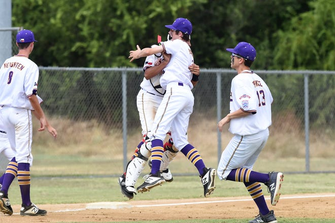Wylie Junior League's Reese Borho (3) and Luke Najera (7) jump and hug after defeating Corpus Christi Oil Belt 7-1 in the Texas West Little League state championship at Kirby Park in Abilene on Monday, July 22, 2019. It is the second Junior League title for Wylie in the last three years.