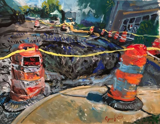 A gouache painting of the sinkhole at 1010 Merrimon Avenue by Cyrus Glance, local artist and CNA.