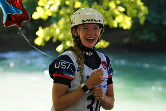 Evy Leibfarth, 15, of Bryson City, seen here after earning a bronze medal June 30 at the slalom world cup in women's canoe in Tacen, Slovenia, won two more medals July 16-21 at the ICF Junior and U23 Canoe Slalom World Championships in Krakow, Poland.