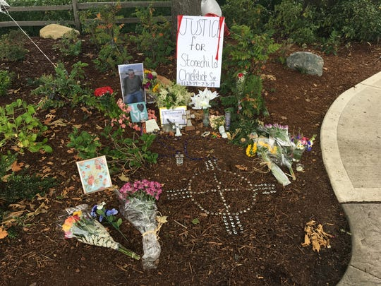 Family members and friends placed a memorial for Stonechild Chiefstick in Poulsbo's Waterfront Park, where Chiefstick was shot by a police officer earlier this month.